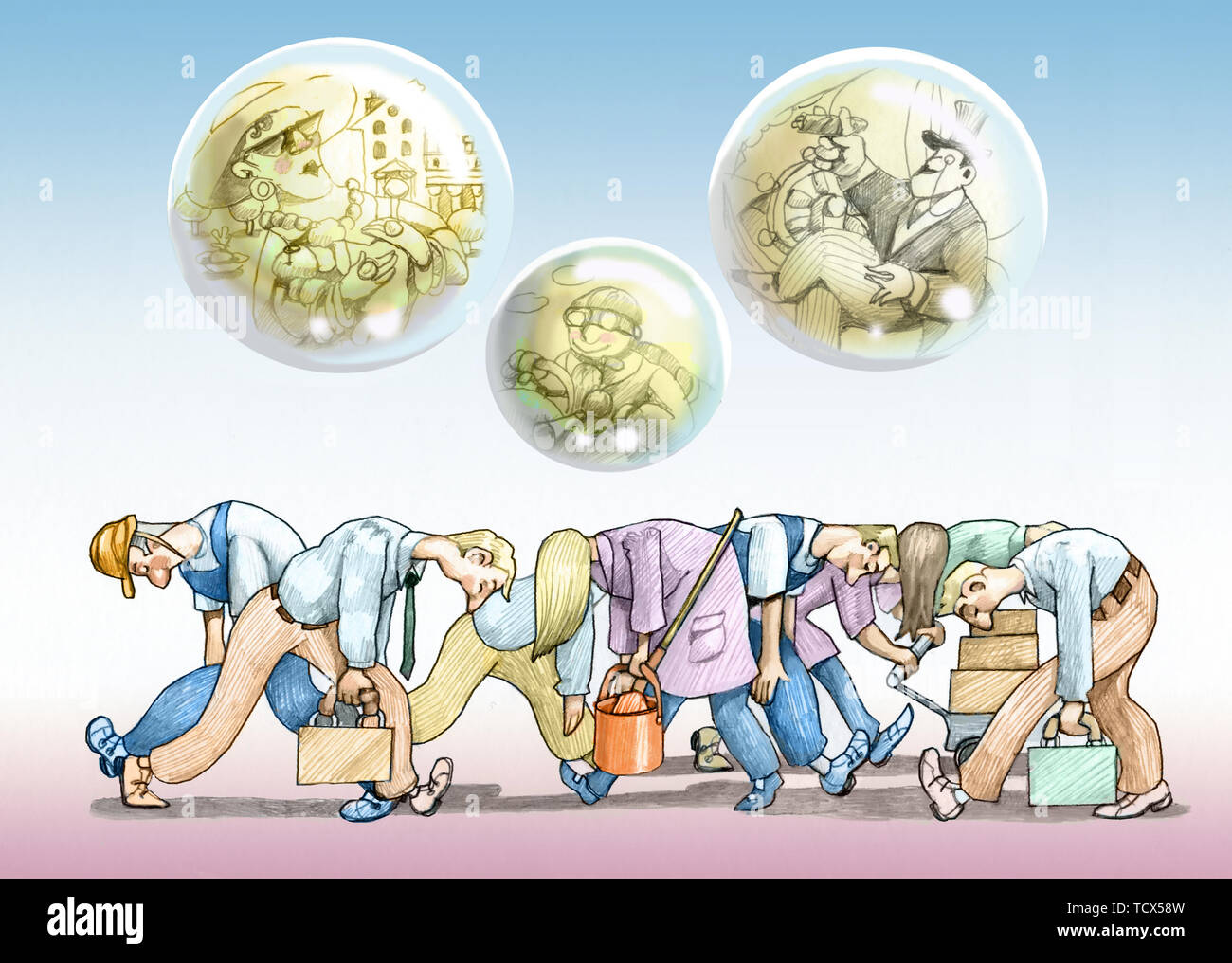 row of tired workers walk bent above them bubbles of soap with a few rich far from reality metaphor of social injustice - Stock Image