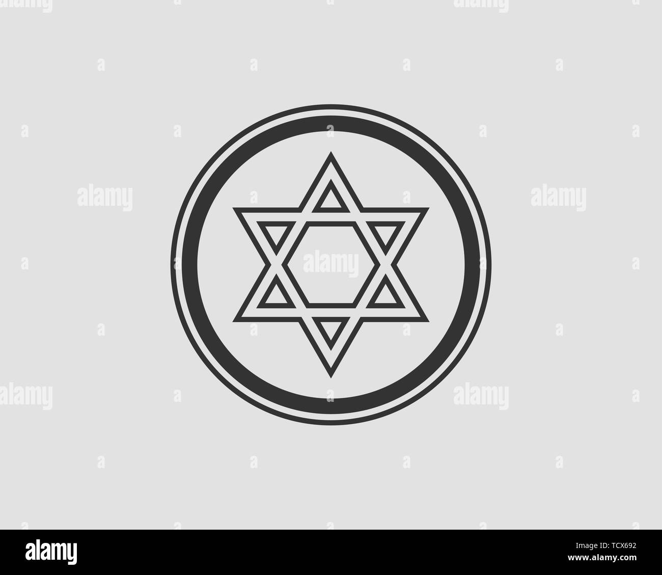 Jewish Star of David icon. Vector six pointed stars symbol. - Stock Image