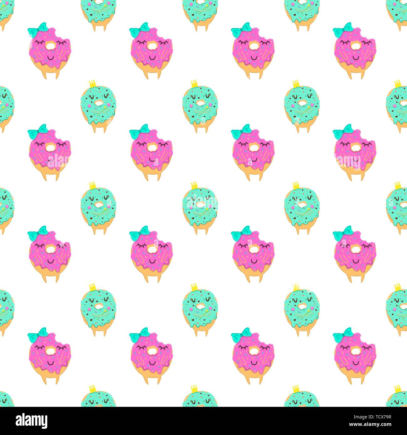 Donuts seamless pattern with cute face ...