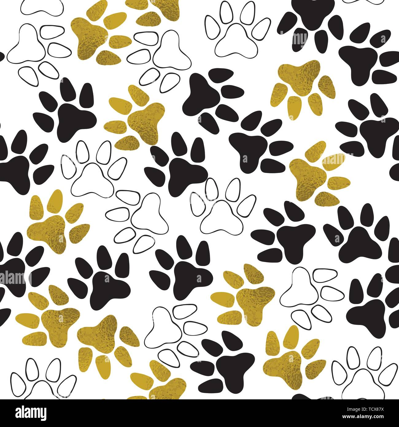 Seamless pattern with dog paw print  Vector illustration