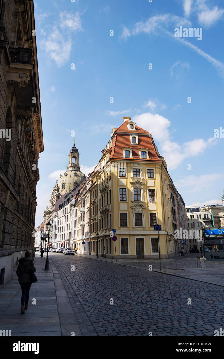 DRESDEN, GERMANY - APRIL 2 2018: Lutheran church Dresden Frauenkirche, Church of Our Lady on sunny day on April 2, 2018 in Dresden, Germany. - Stock Image