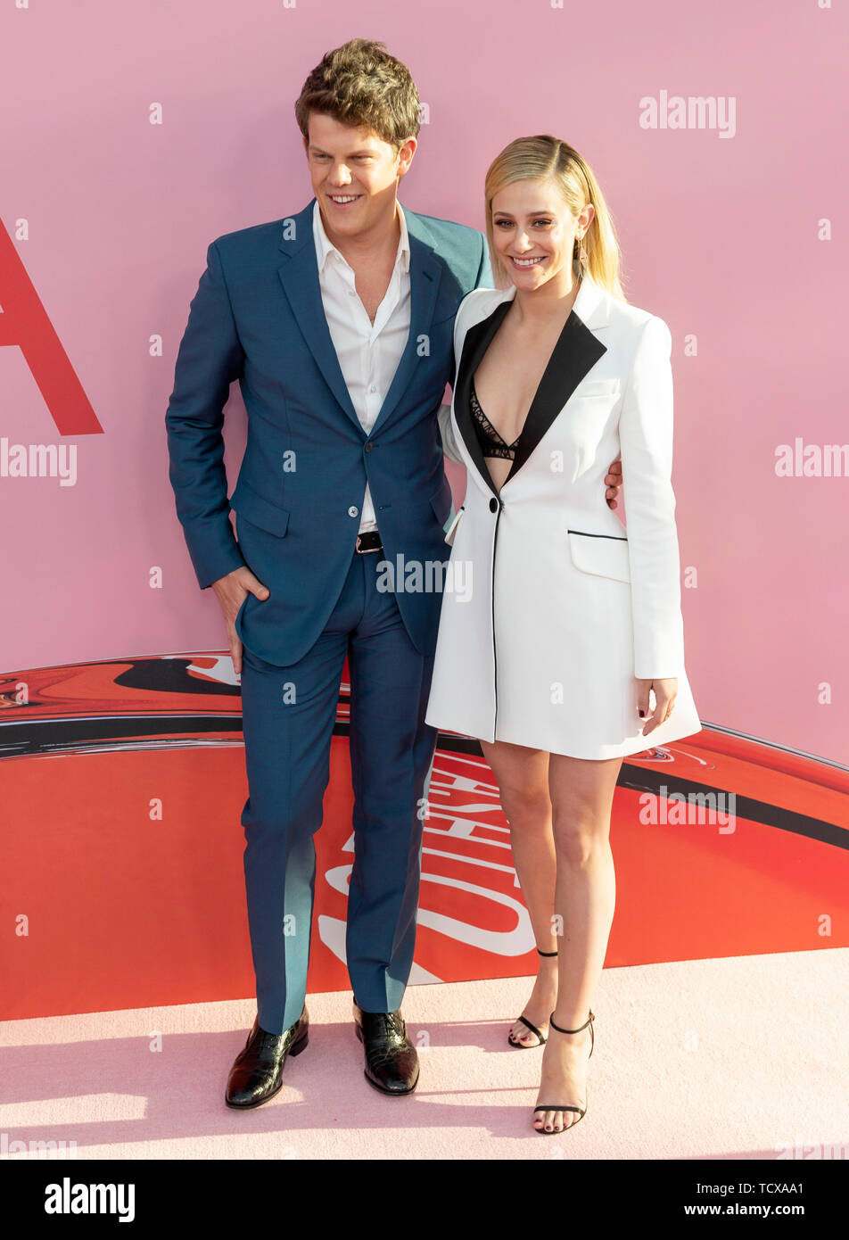 New York, NY - June 03, 2019: Wes Gordon and Lili Reinhart attend 2019 CFDA Fashion Awards at Brooklyn Museum - Stock Image