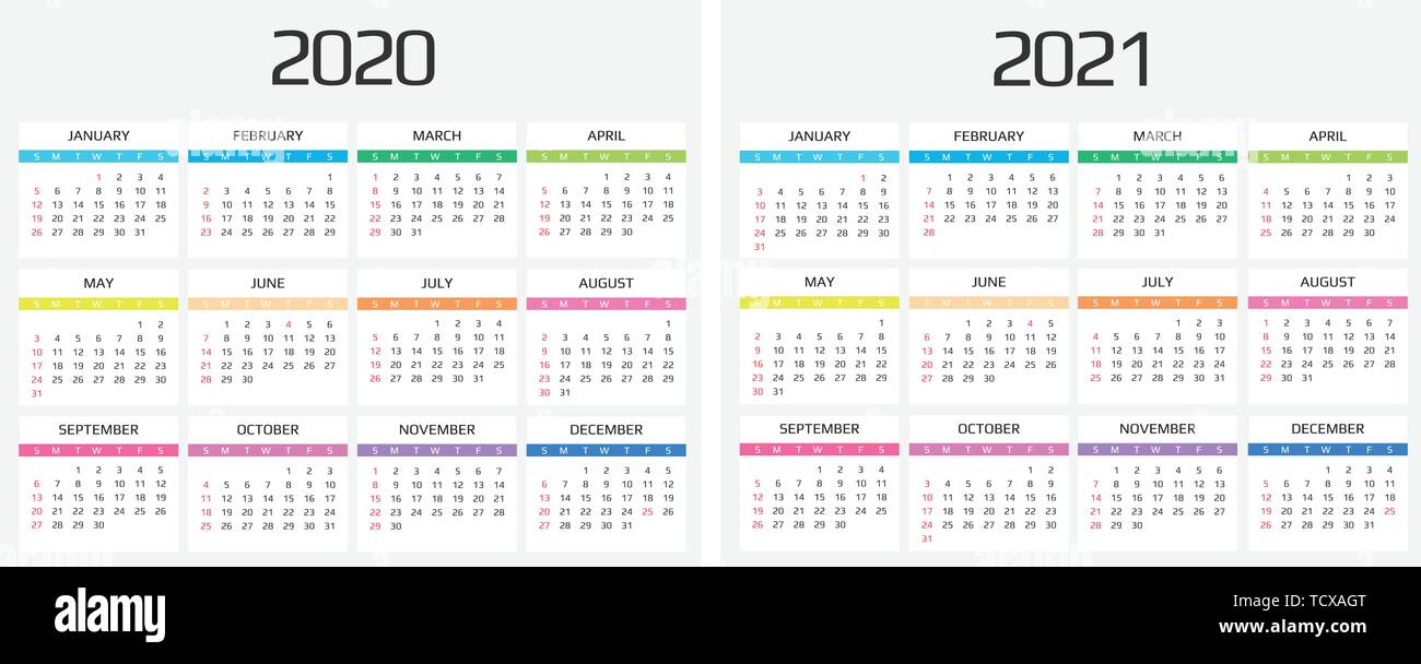 Calendar Of Events 2021 Calendar 2020 and 2021 template. 12 Months. include holiday event