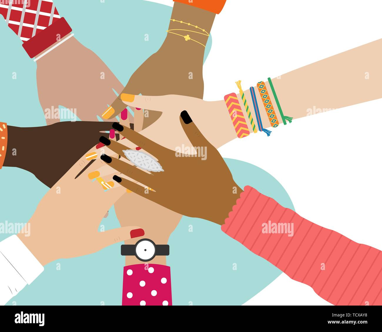 Concept of team work. Friends with stack of hands showing unity and teamwork, top view. People putting their hands together. Vector illustration. Stock Vector