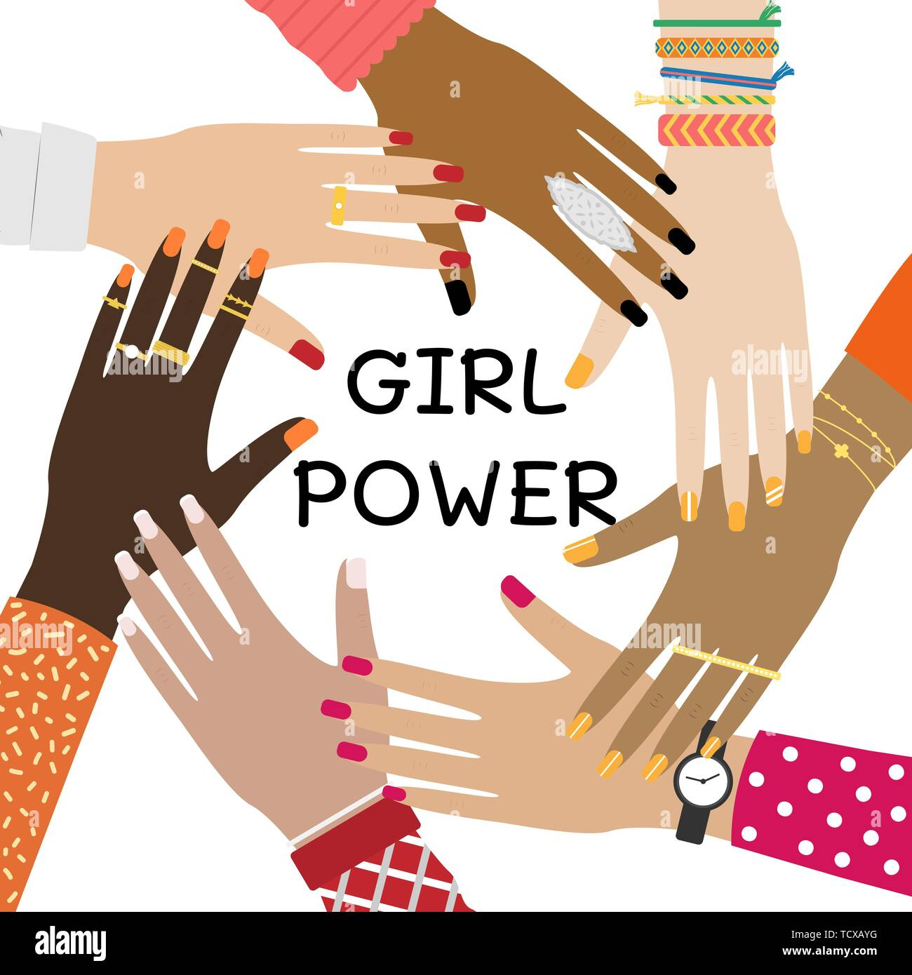 Hands of a diverse group of people putting together. Concept of togetherness and teamwork. Girl power. Stock Vector