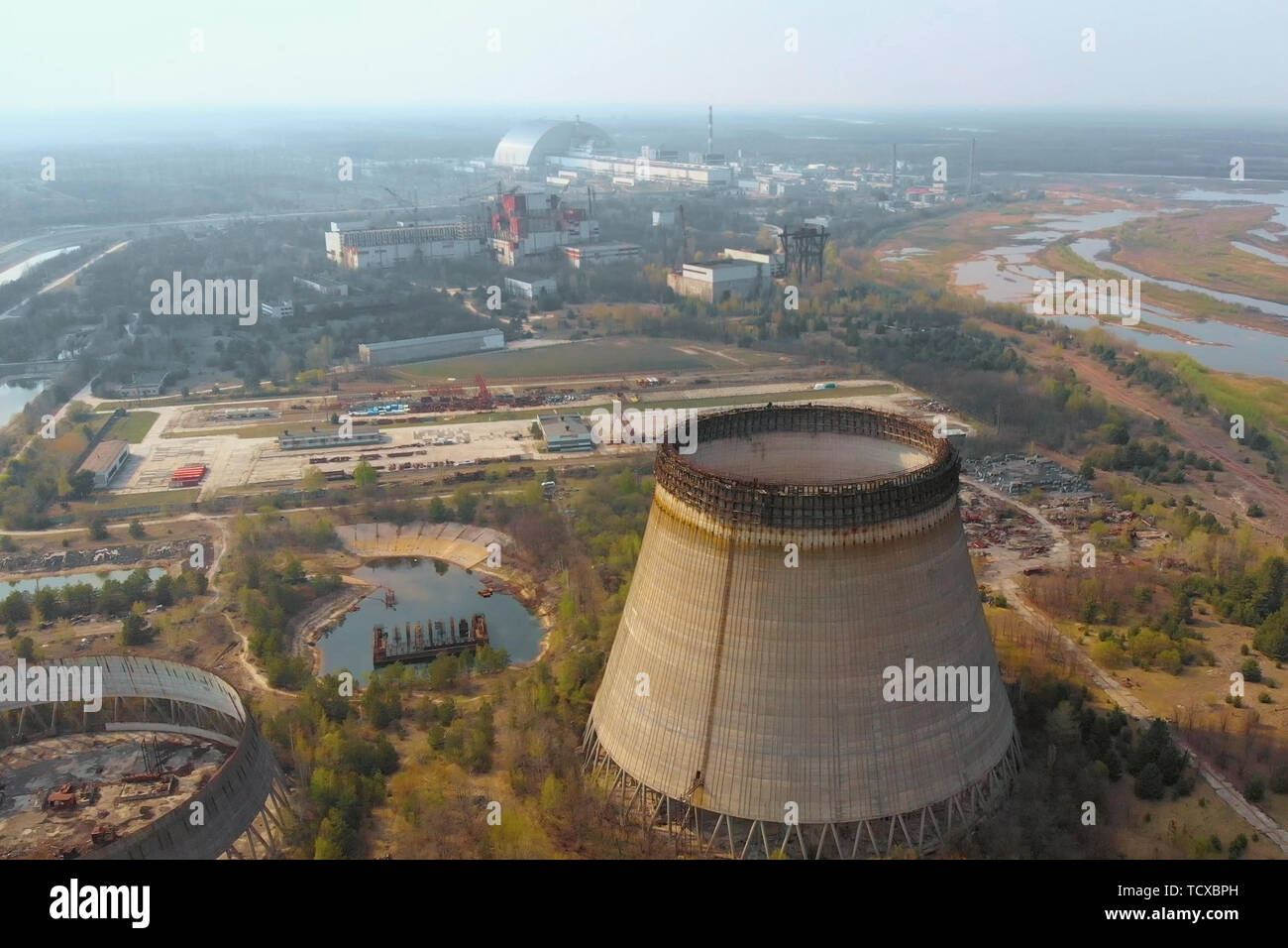 Chernobyl nuclear power plant, Ukrine. Aerial view - Stock Image