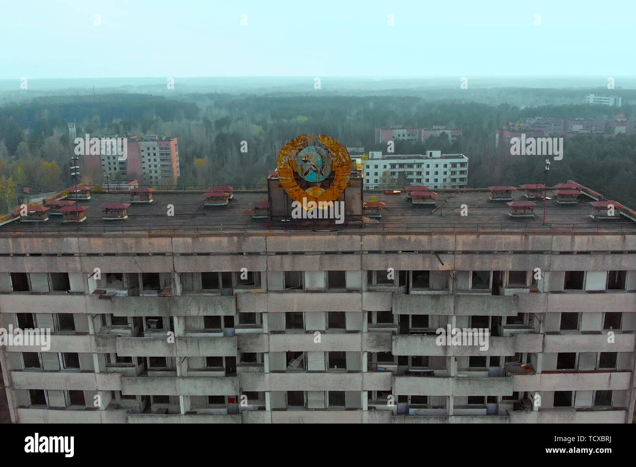 Ghost town Pripyat near Chernobyl NPP, Ukraine - Stock Image