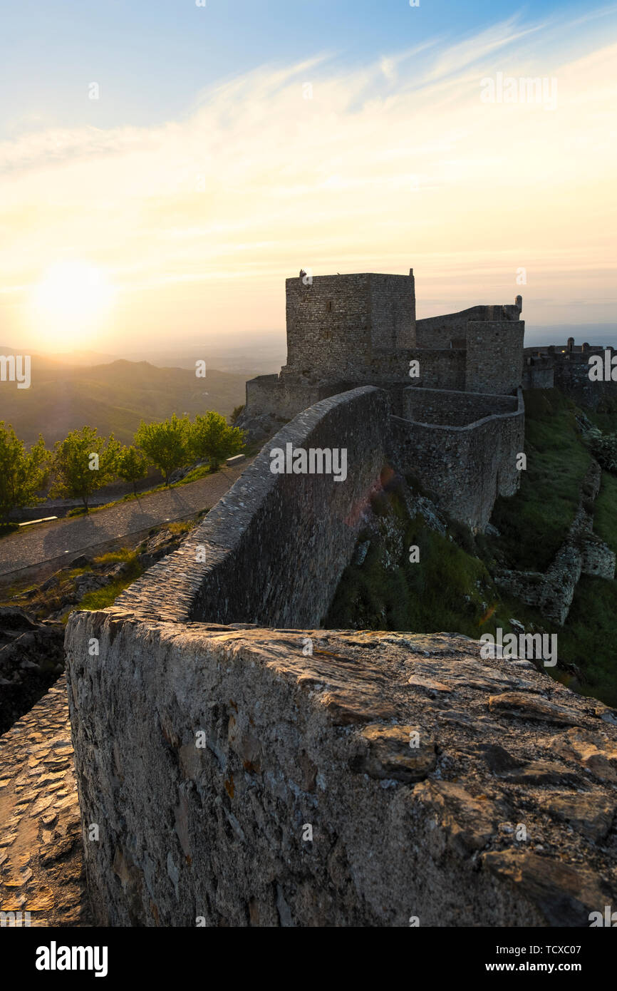 View along the castle walls of Marvao, Alentejo, Portugal, Europe - Stock Image