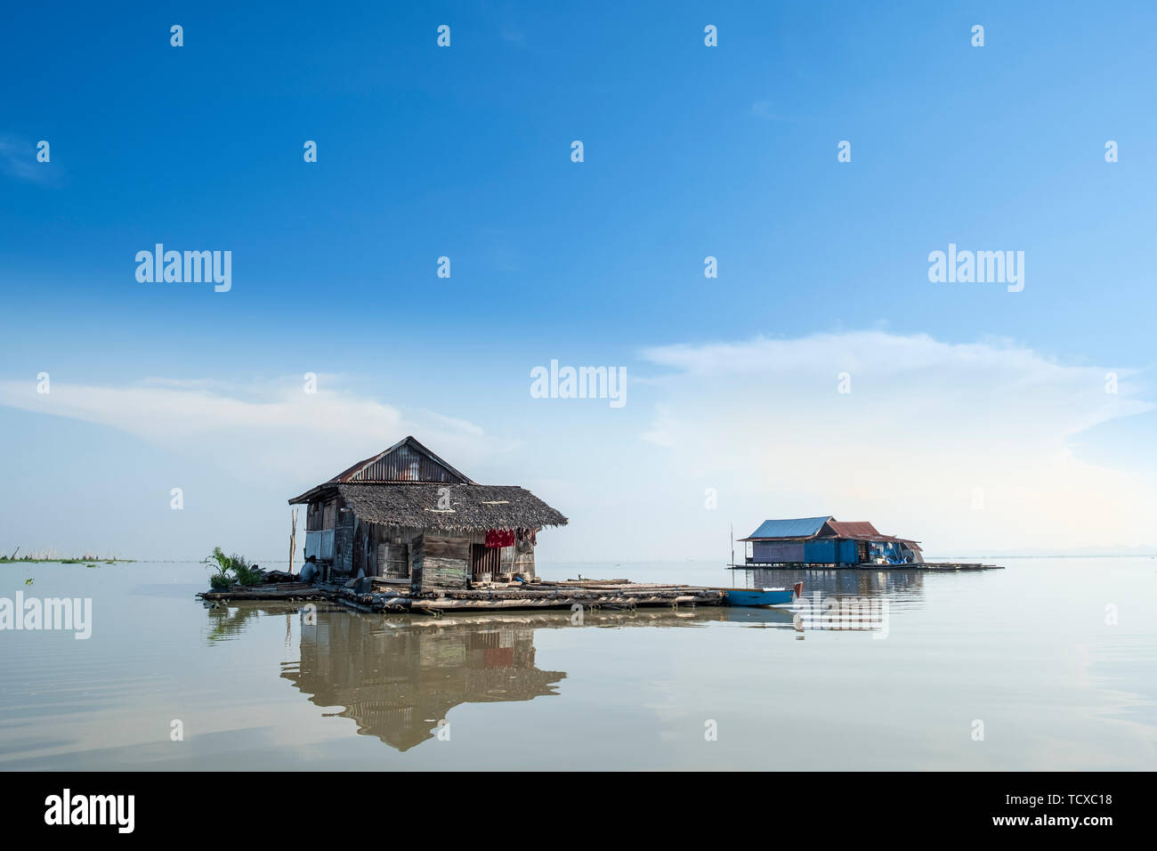 Floating houses on the lake, Lake Tempe, Sengkang, Indonesia, Southeast Asia, Asia - Stock Image