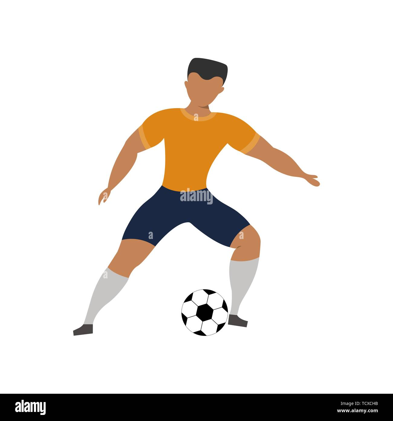 Football player on a white background. Olympic Sport Concept. Vector cartoon illustration. - Stock Vector