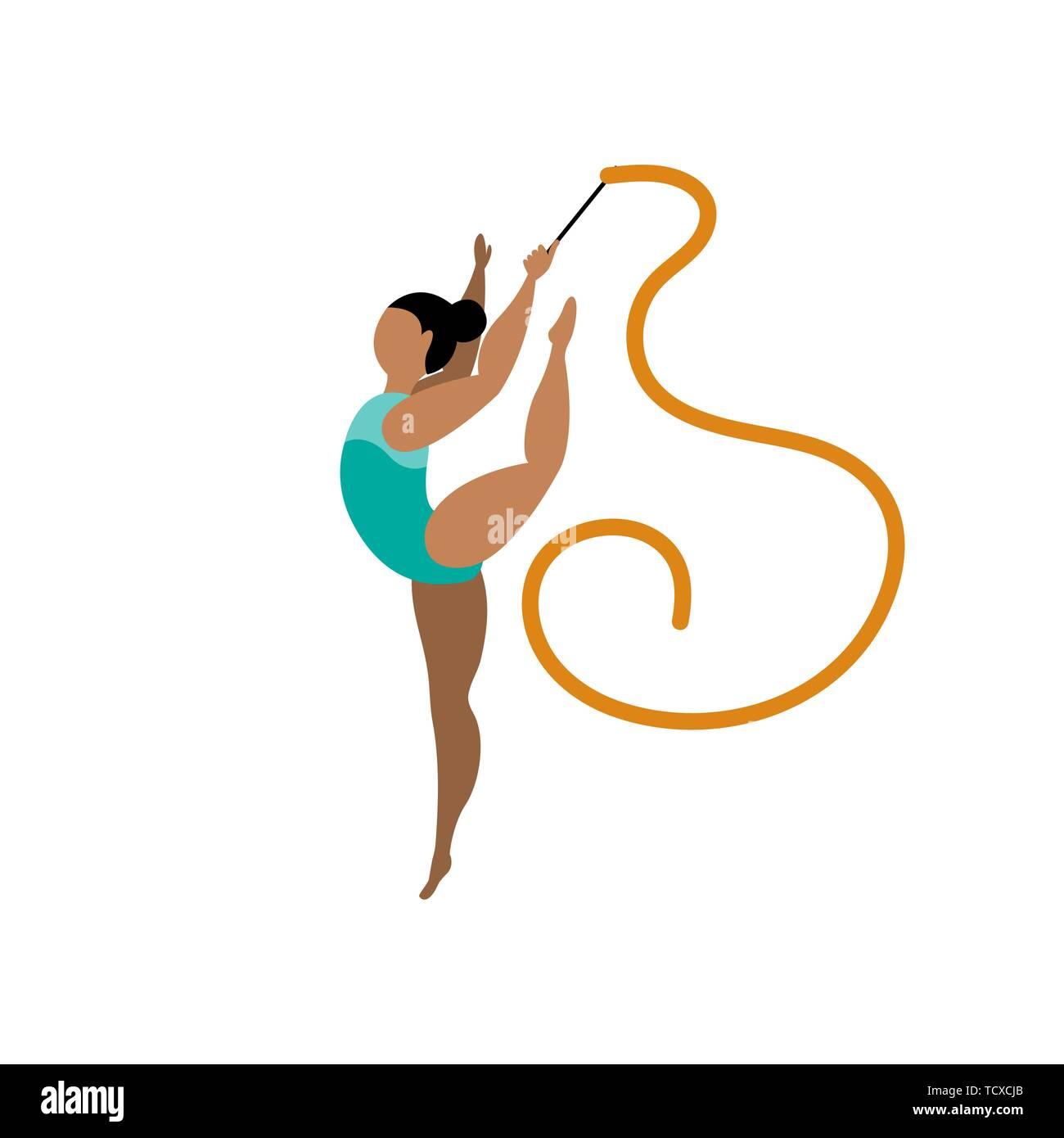 Beautiful rhythmic gymnast on white background. Sport concept. Vector illustration. - Stock Vector