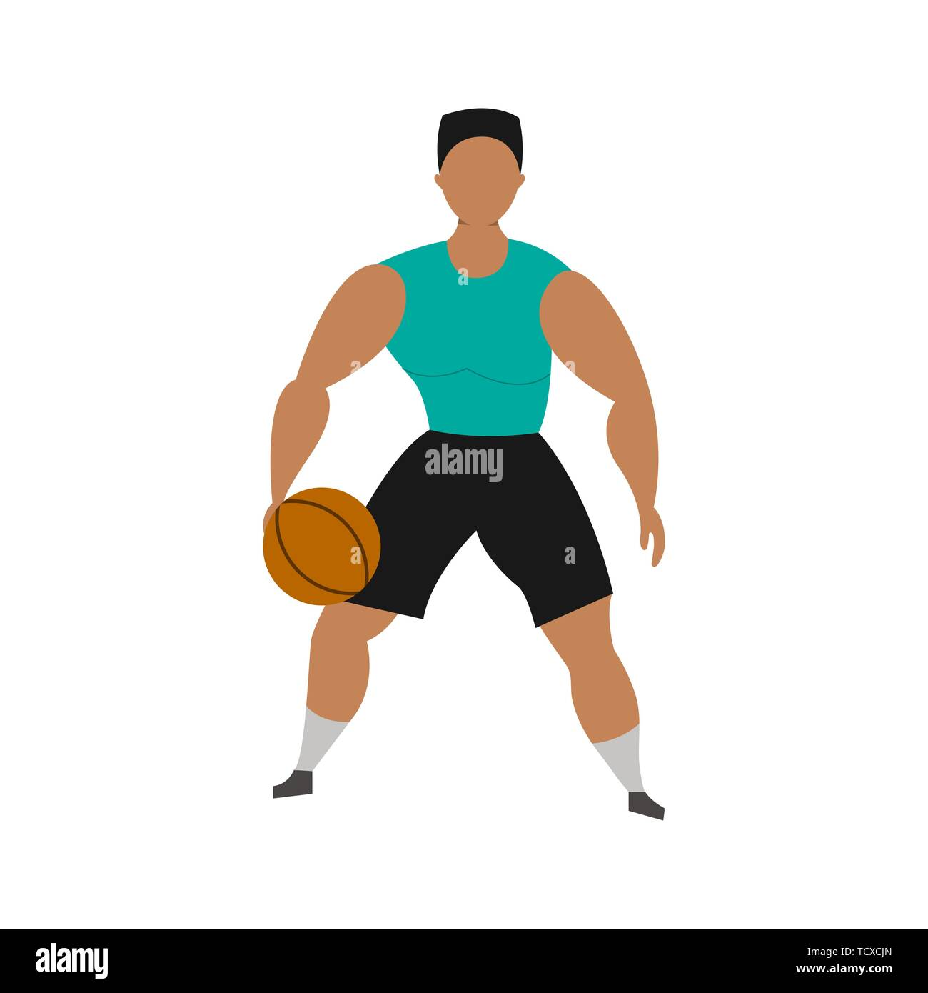 Basketball player on a white background. Sport Concept. Vector cartoon illustration. - Stock Vector