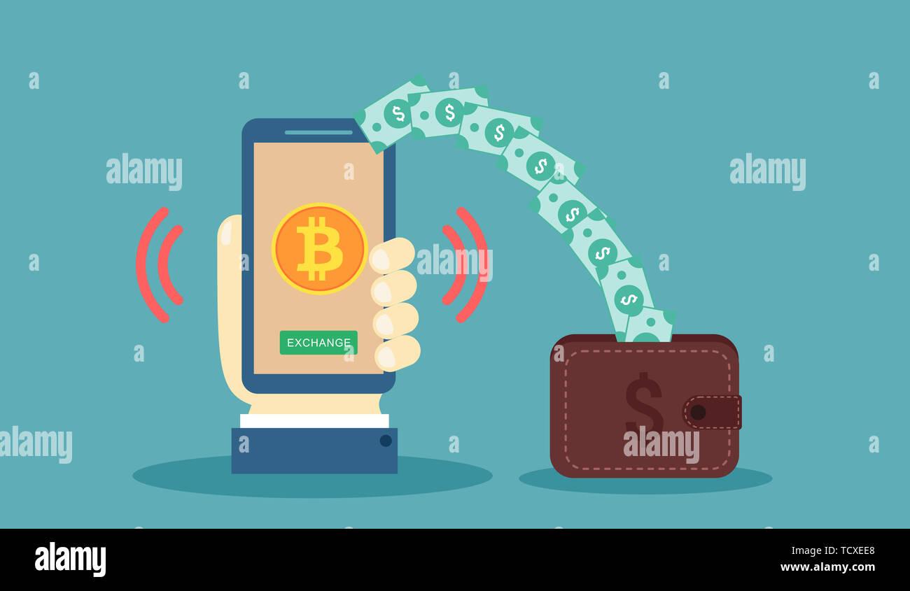 Bitcoin exchange dollar creative concept illustration Stock Photo
