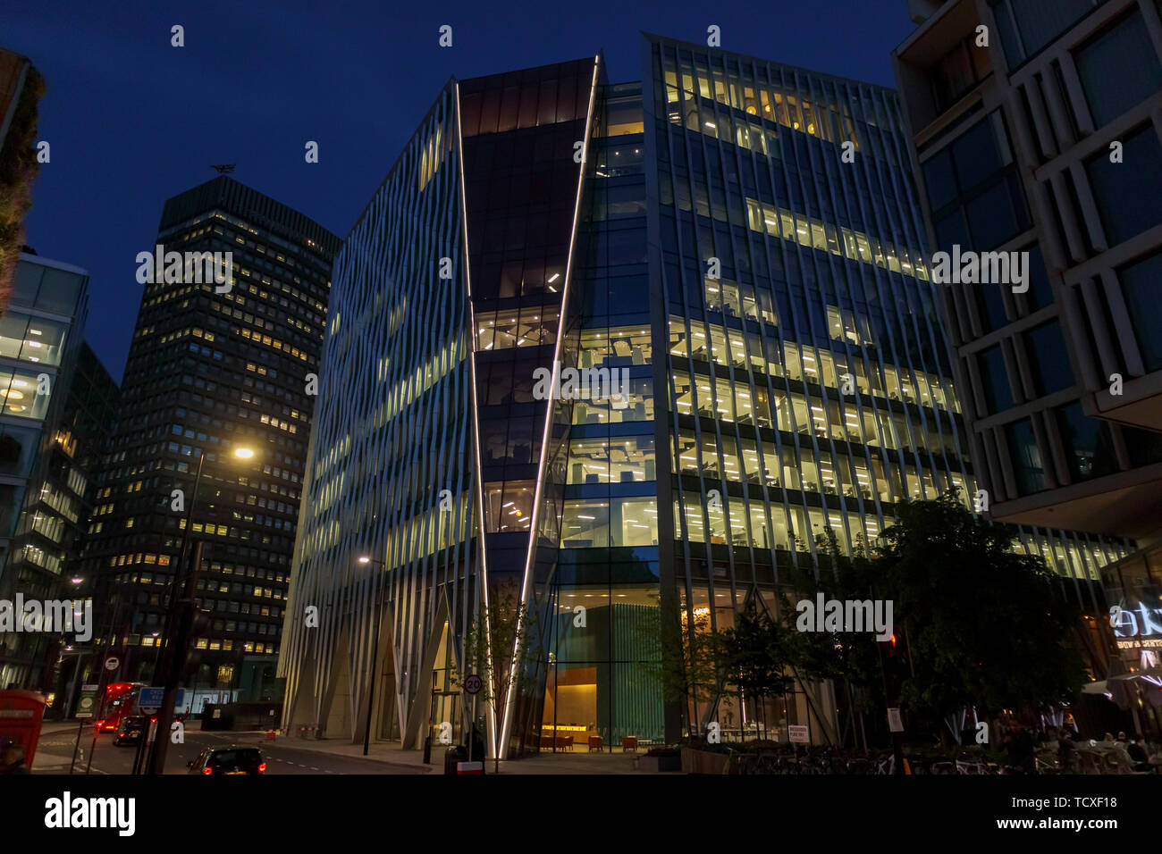 Nova, a modern high rise building by Morpheus London, in Belgravia, Victoria, Westminster London SW1, UK, at night Stock Photo