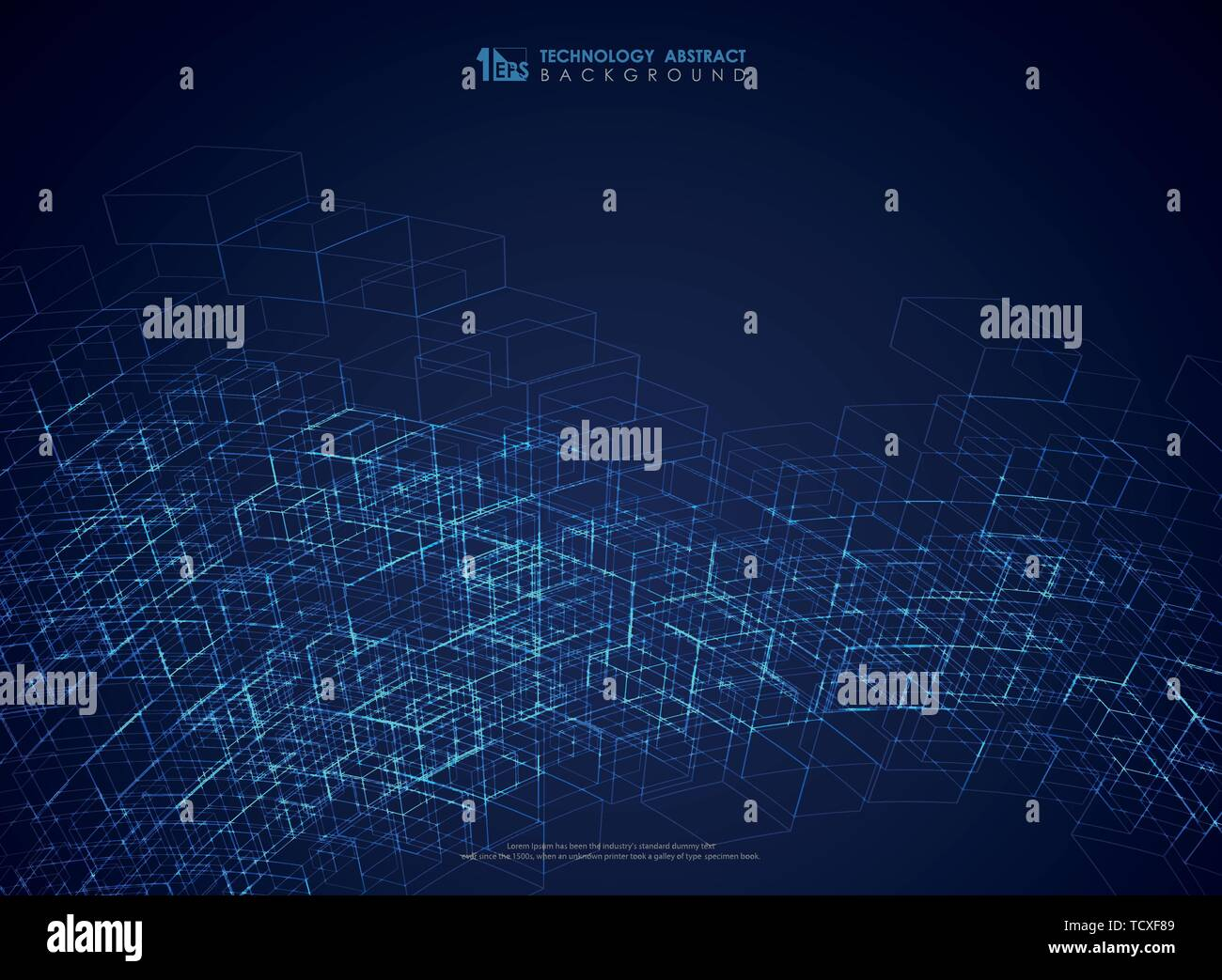 Abstract blue geometric line structure mesh futuristic background. You can use for technology poster, ad, artwork, annual report, cover design. Stock Vector