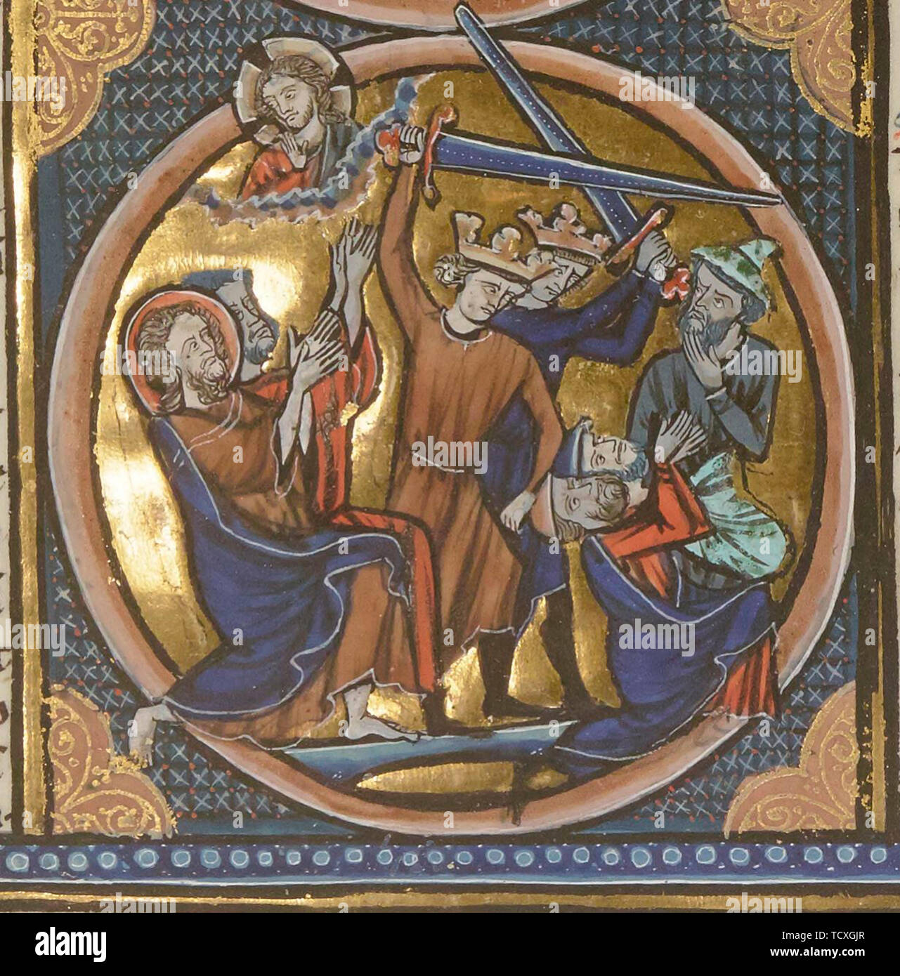 Execution of Jews. Miniature from Emblèmes bibliques, ca 1220-1230. Found in the Collection of Bibliothèque Nationale de France. - Stock Image