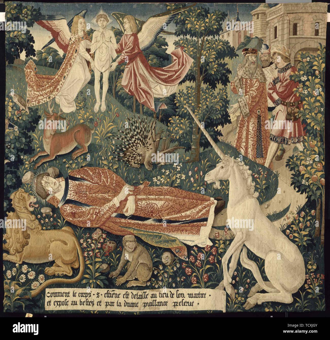 Unicorn. From: La Tenture de saint Étienne. Scène 8: Le corps du martyr exposé aux bêtes, c. 1500. Found in the Collection of Musée national du Moyen Âge (Musée de Cluny). - Stock Image