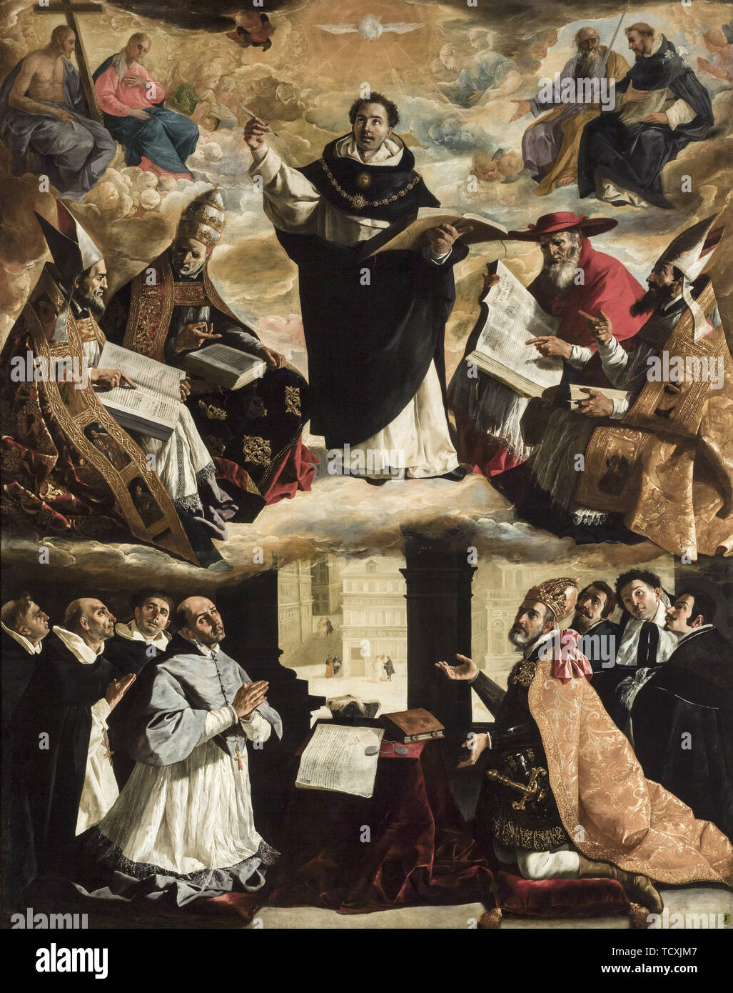 The Apotheosis of Saint Thomas Aquinas, ca 1631. Found in the Collection of Museo de Bellas Artes, Sevilla. - Stock Image