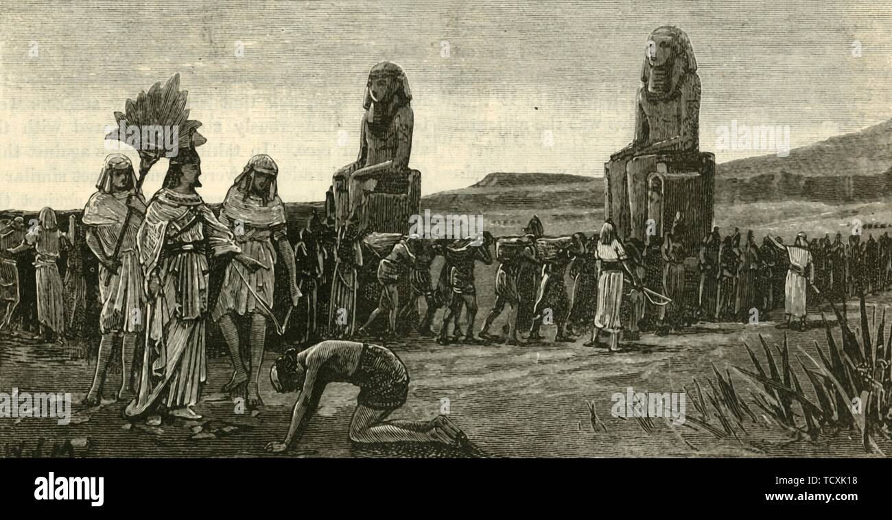 """'Israelites and Their Taskmasters', 1890.  (Exodus 1:11) 'The Egyptians made the Israelites their slaves and forced them to build  Pithom and Pi-Ramesses as store cities for the Pharaoh'. Nineteenth Dynasty of Egypt, (1292 BC to 1189 BC). From """"Cassell's Illustrated Universal History, Vol. I - Early and Greek History"""", by Edmund Ollier. [Cassell and Company, Limited, London, Paris and Melbourne, 1890] - Stock Image"""