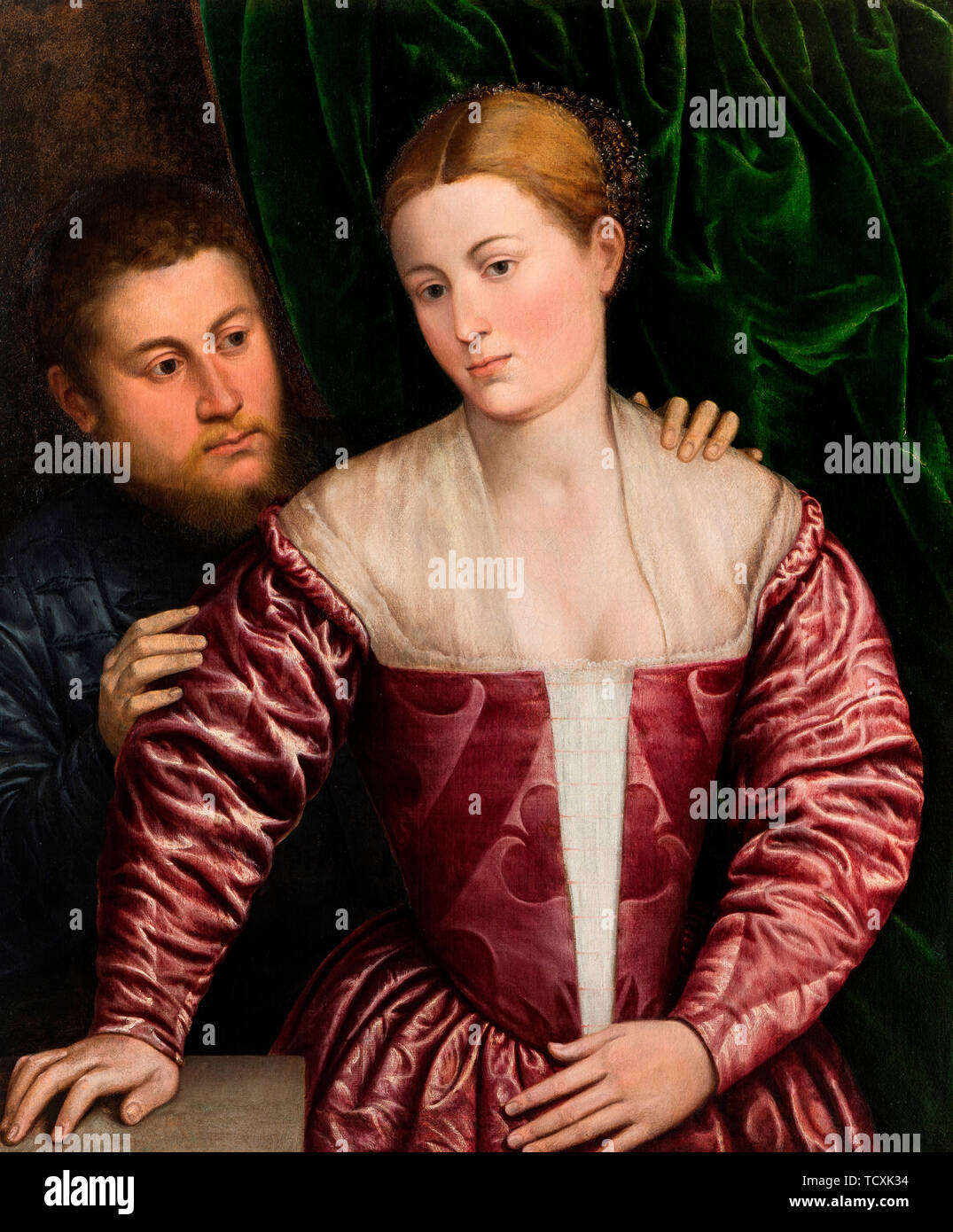 Double Portrait of a Venetian Woman and her Cavalier, c. 1560. Found in the Collection of Nivaagaards Malerisamling. - Stock Image