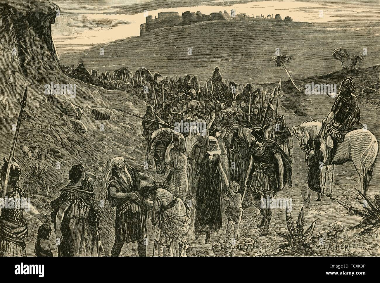 """'Israelites Going Into Capitvity', 1890. The Israelite people were sent into exile for worshiping false gods, wher Assyrian armies took thousands into captivity, c740 BC. (Kings:17). From """"Cassell's Illustrated Universal History, Vol. I - Early and Greek History"""", by Edmund Ollier. [Cassell and Company, Limited, London, Paris and Melbourne, 1890] - Stock Image"""