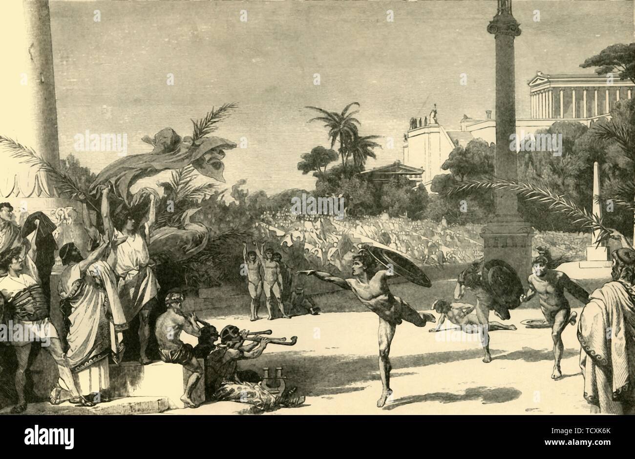 """'Olympic Games', 1890. The ancient games were also a religious festival, held in honour of Zeus, king of the gods, the first Olympics is dated to 776BC. From """"Cassell's Illustrated Universal History, Vol. I - Early and Greek History"""", by Edmund Ollier. [Cassell and Company, Limited, London, Paris and Melbourne, 1890] - Stock Image"""
