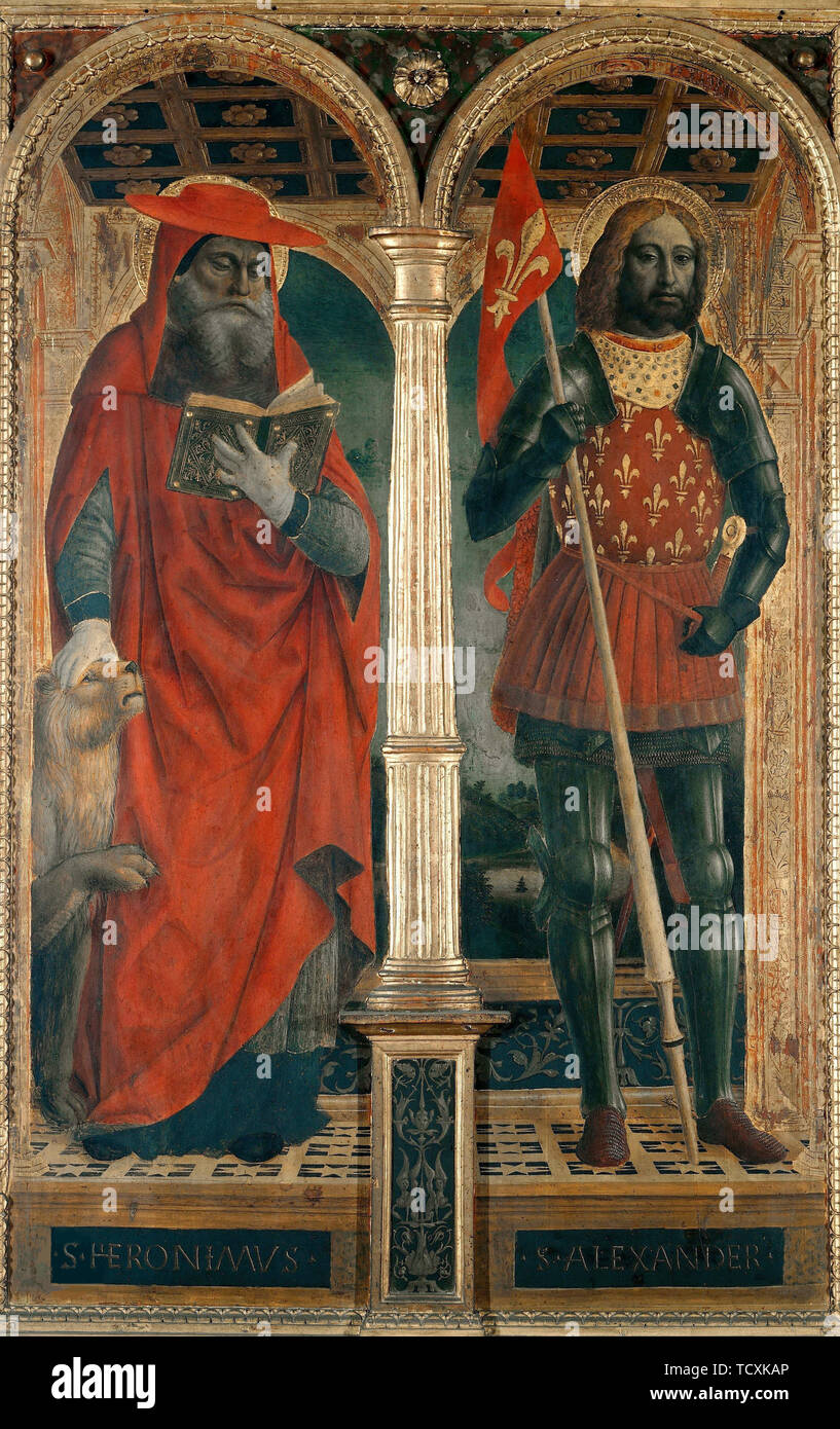 Saints Jerome and Alexander. Polyptych from the Santa Maria delle Grazie , 1500-1505. Found in the Collection of Pinacoteca di Brera, Milan. - Stock Image