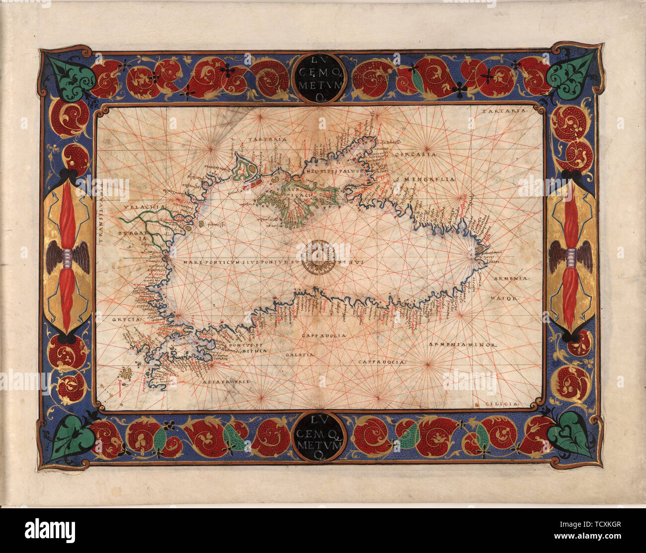 Map of the Black Sea including part of present-day Romania, Bulgaria, Turkey, Ukraine, and Russia, c. 1544. Private Collection. - Stock Image