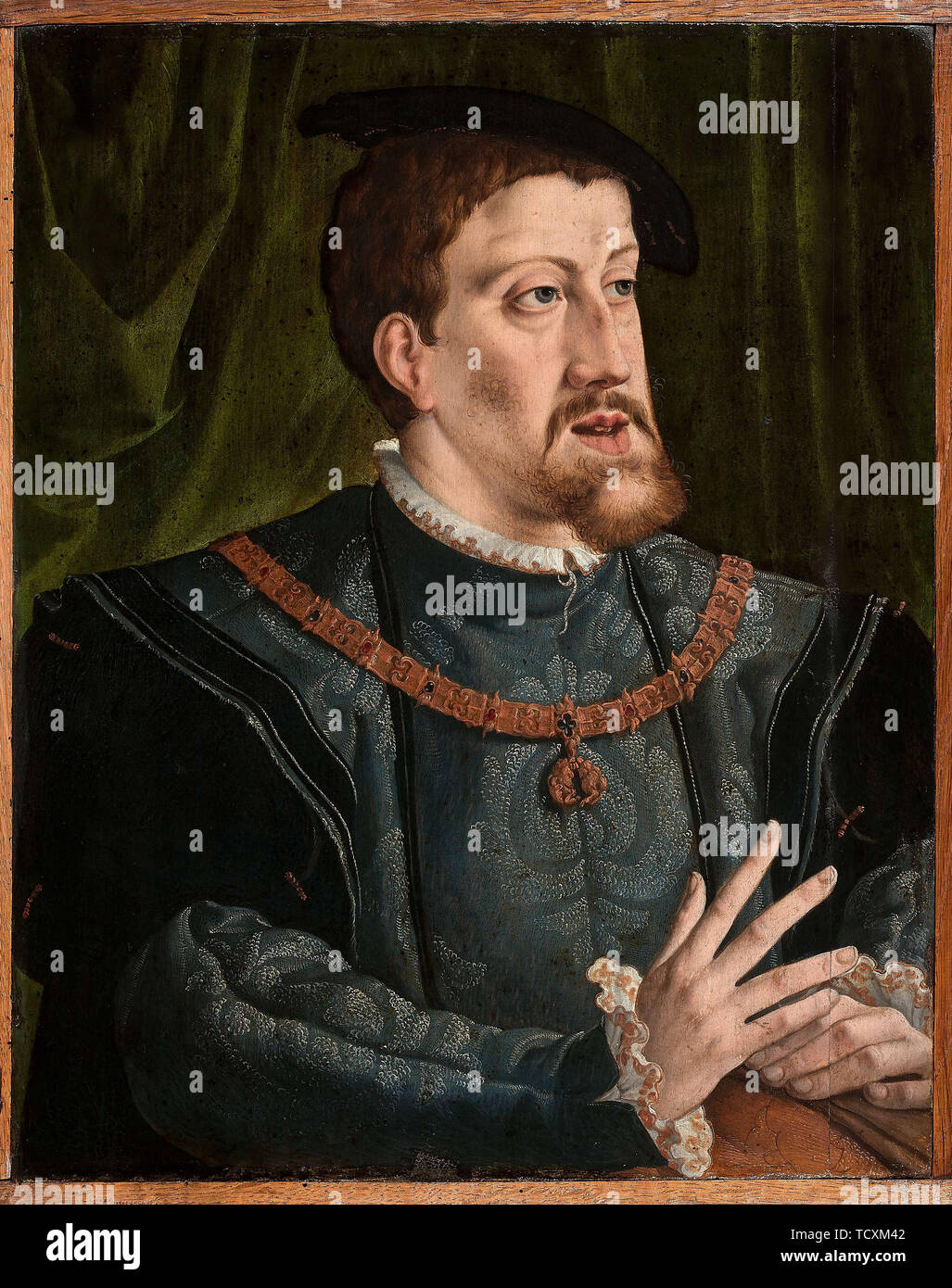 Portrait of the Emperor Charles V (1500-1558). Private Collection. - Stock Image