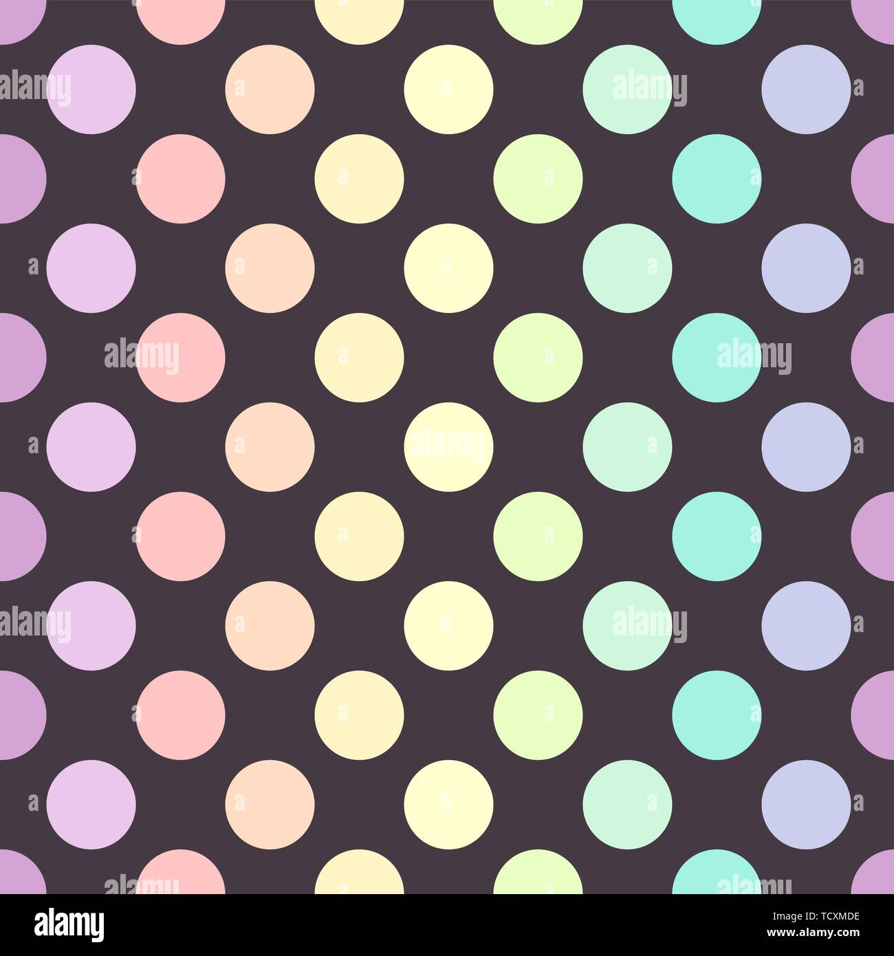 Pastel colors polka dots on dark background. Vector illustration - Stock Image
