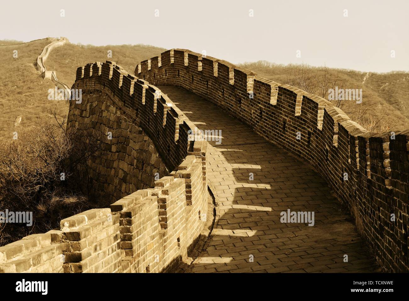 Great Wall in old yellow tone in Beijing, China - Stock Image