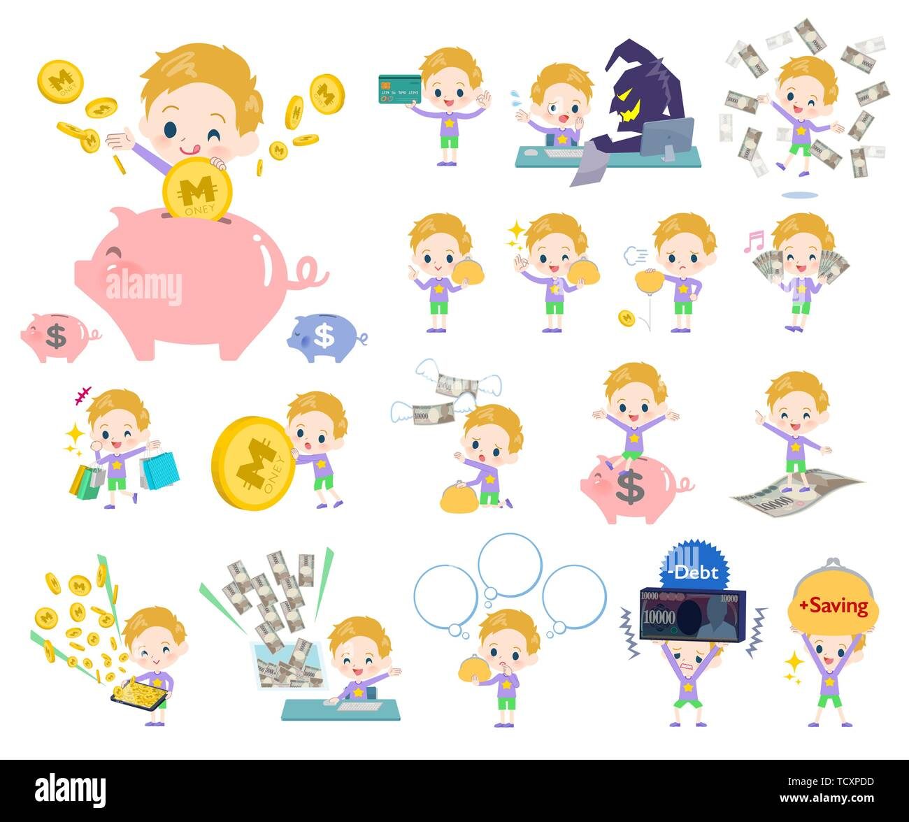 A set of boy Caucasian with concerning money and economy.There are also actions on success and failure.It's vector art so it's easy to edit. - Stock Image