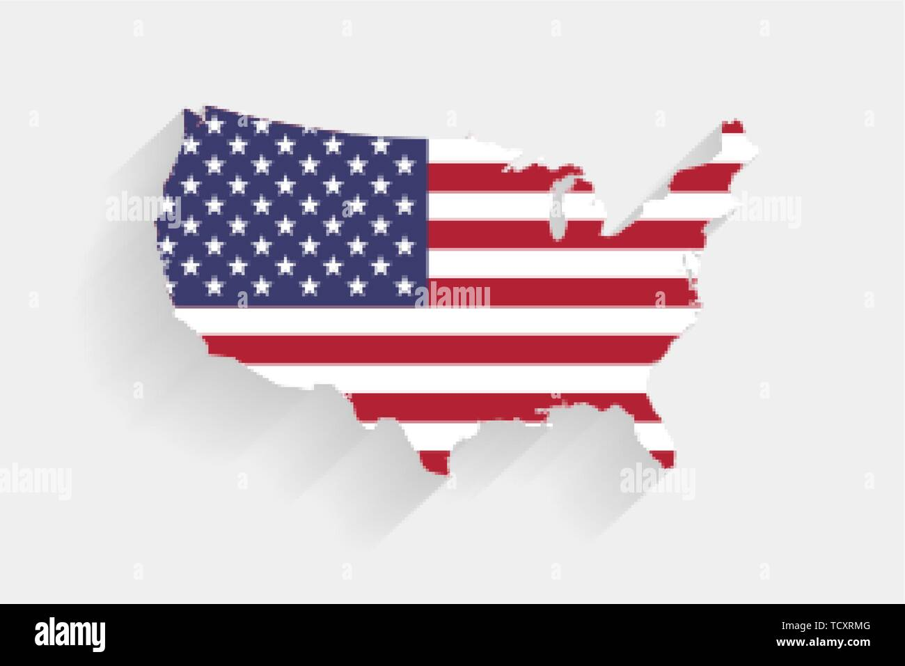 United States flag map on gray background, vector ...