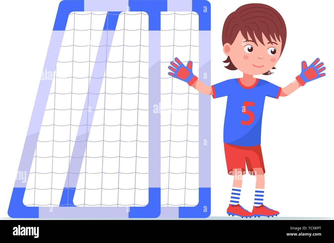 Boy goalkeeper stands next to the football goal - Stock Vector