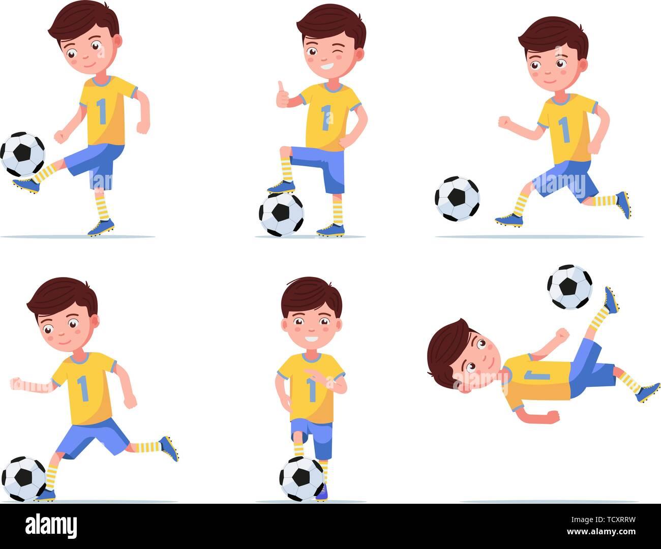 Set boy soccer player plays football - Stock Vector