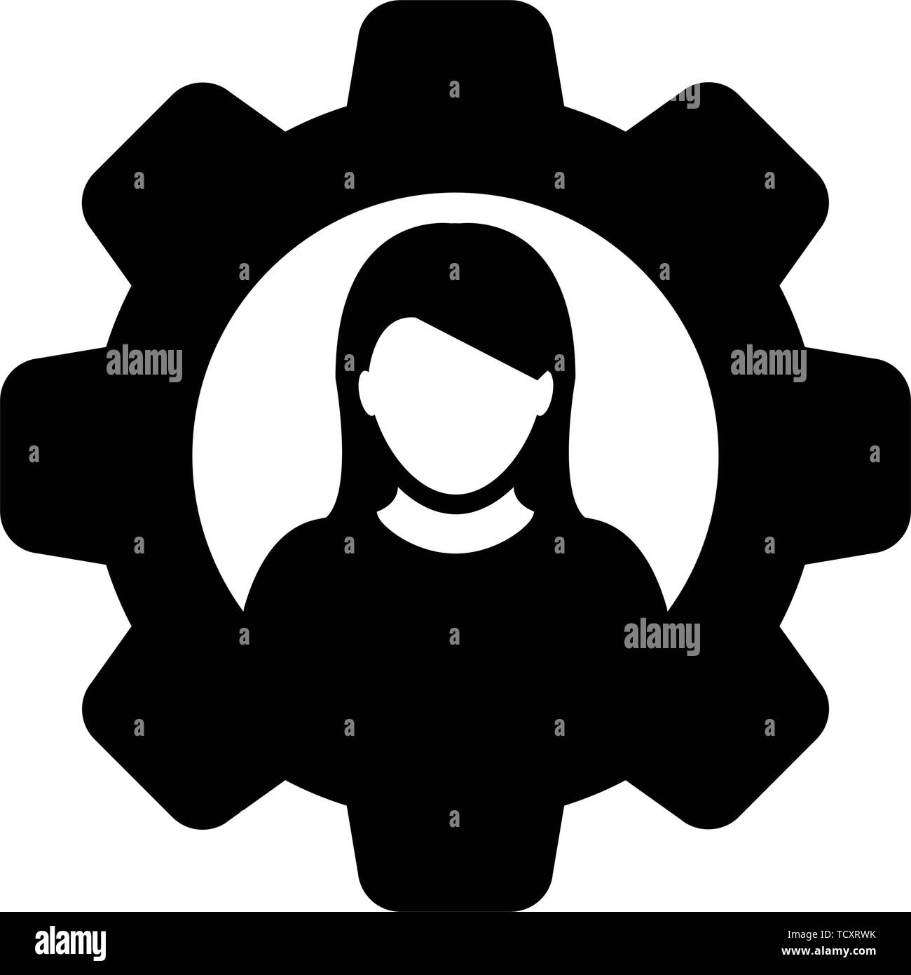 Person icon vector female user profile avatar with gear cogwheel for