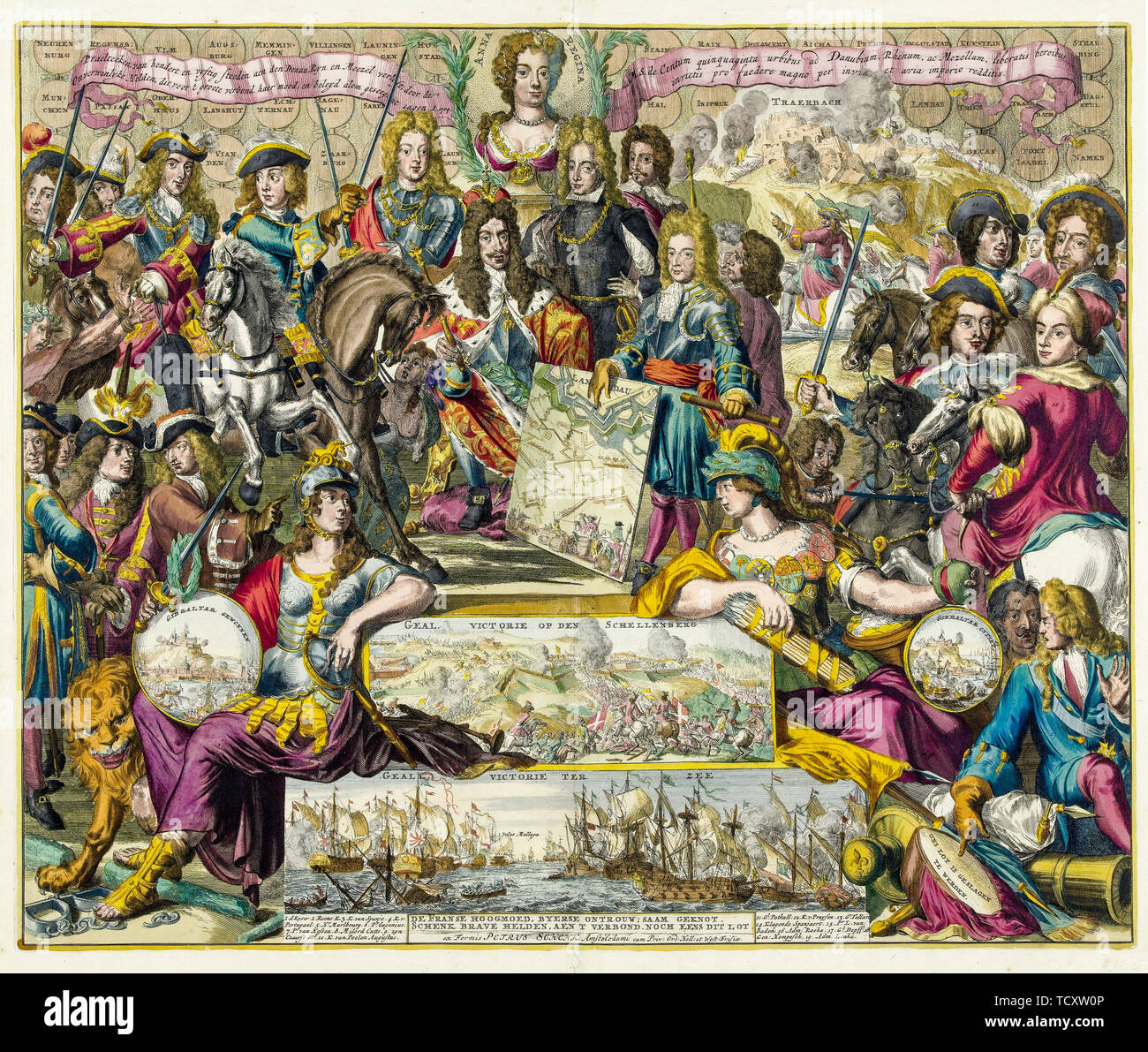 Dutch school, Allegory of the Victory of the Grand Alliance over the French in the Year 1704, Spanish Wars of Succession, engraving, circa 1704 RKM - Stock Image