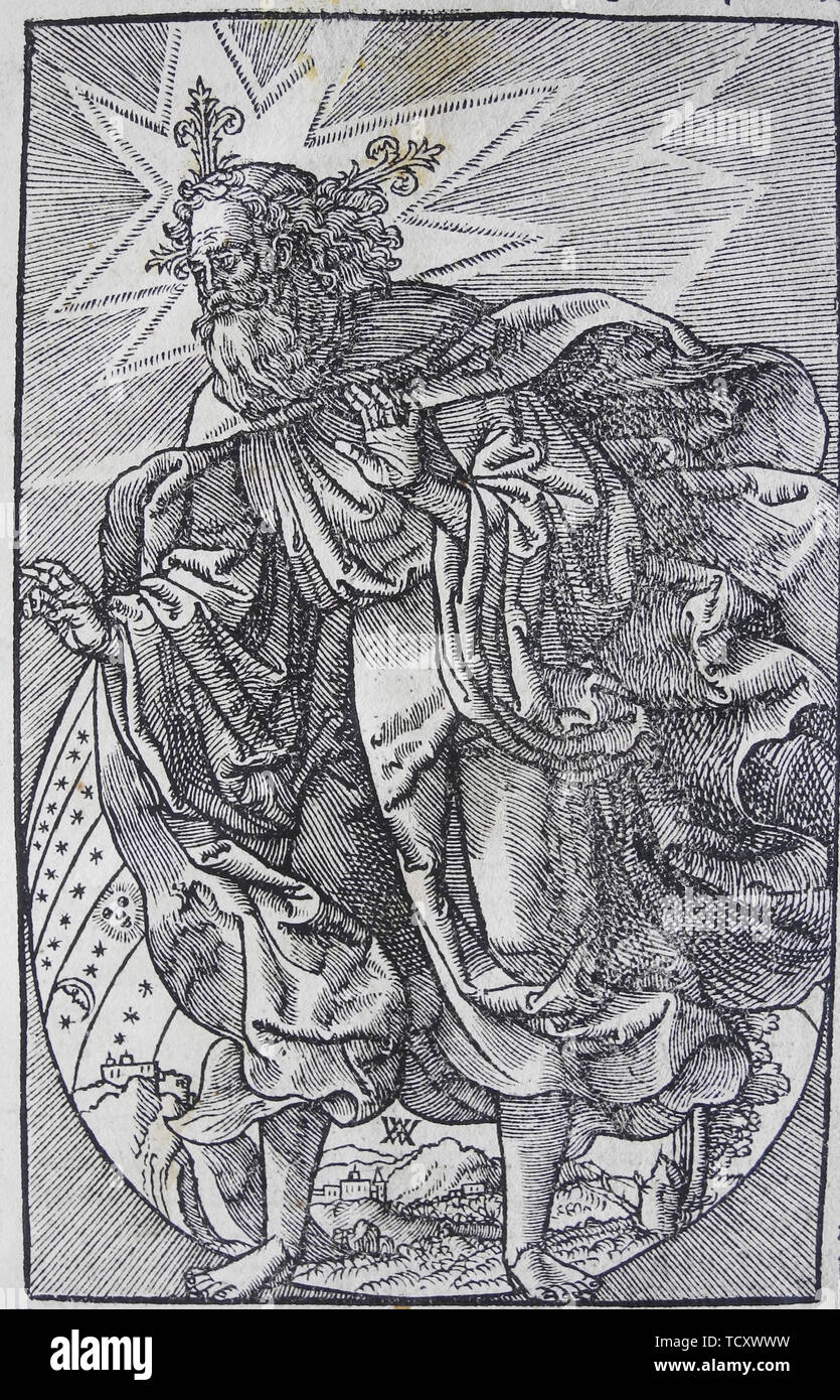 """The Creation of the World, from the """"Worms Bible"""", 1529. Private Collection. - Stock Image"""