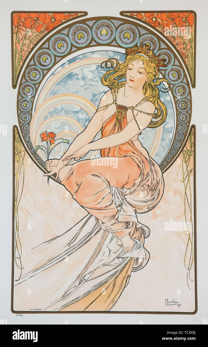 Painting (From the series The Arts), 1898. Creator: Mucha, Alfons Marie (1860-1939). Stock Photo