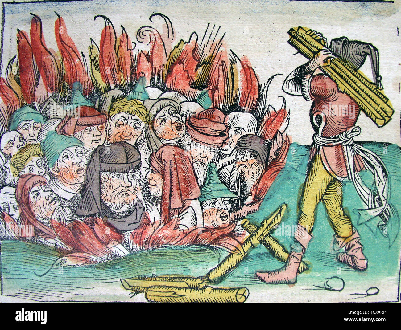 Burning of the Jews at Deggendorf in 1338 (from the Schedel's Chronicle of the World), 1493. Private Collection. - Stock Image