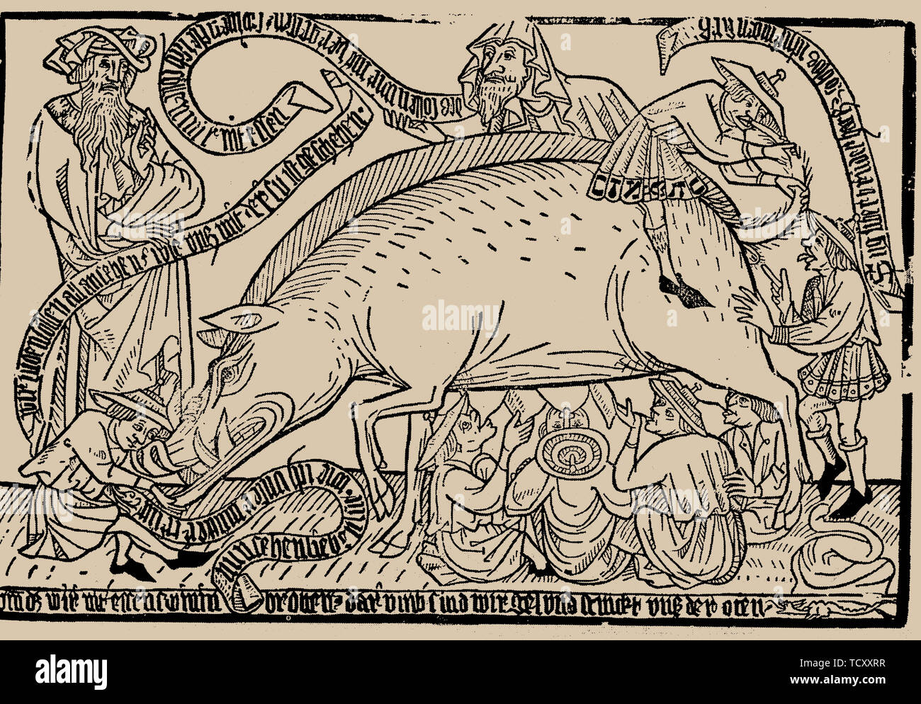 Judensau (Jews' sow), ca 1470. Private Collection. - Stock Image