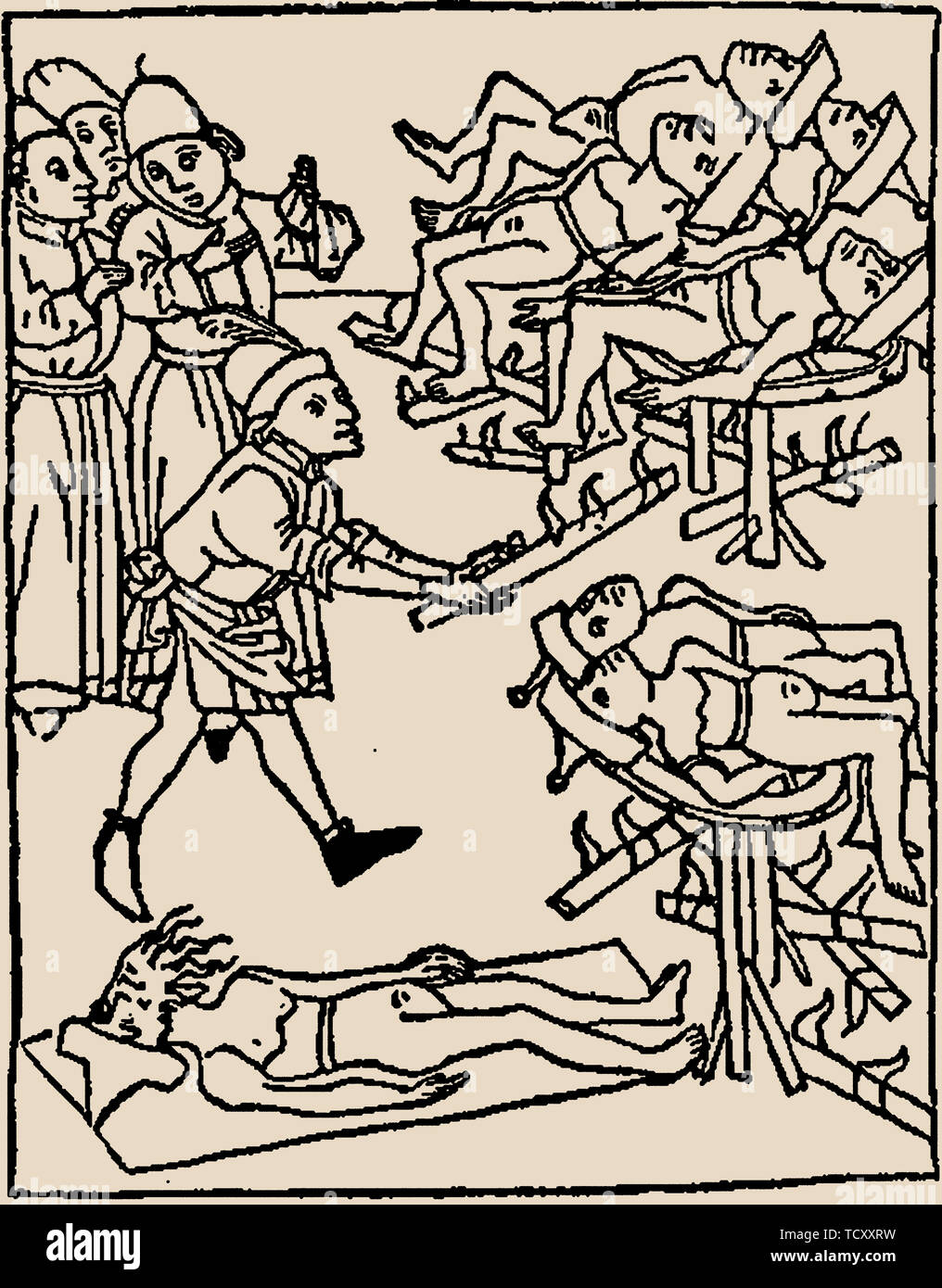 Well poisoning: Torture of the Jews, 1475. Private Collection. - Stock Image