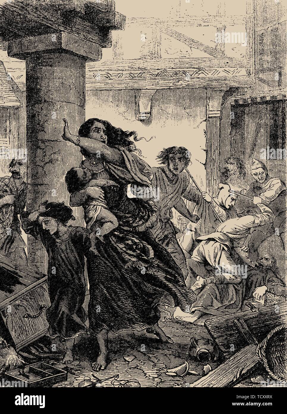 Rhineland Massacre of the Jews in 1096. From Histoire populaire de la France by Charles Lahure, 1866. Private Collection. - Stock Image
