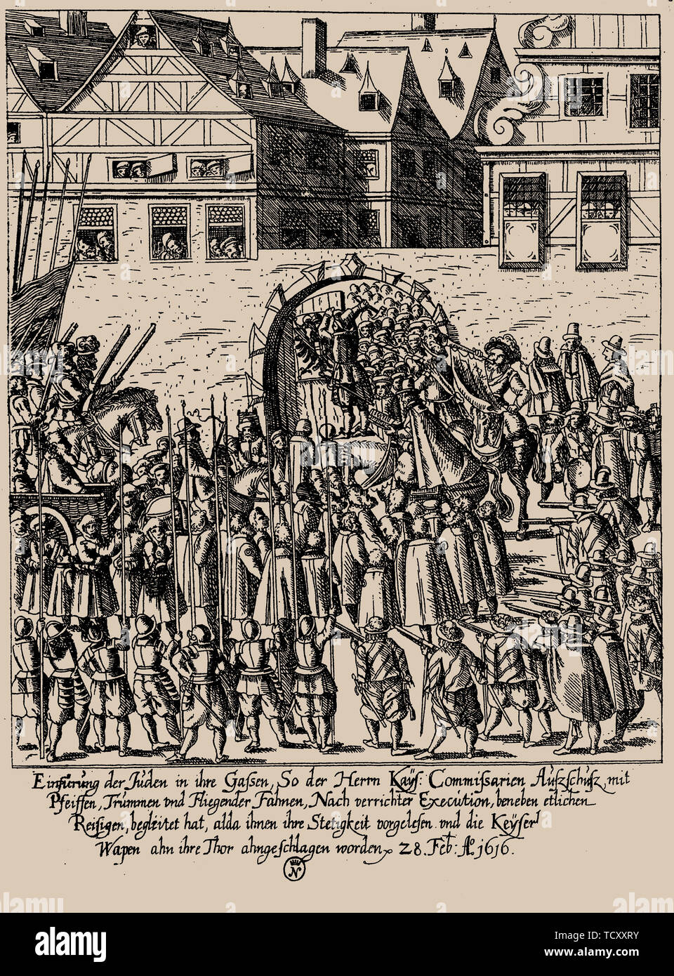 The Fettmilch Rising. Reintroduction of the Jews in Frankfurt on February 28, 1616 according to imperial proclamation , c. 1616-1617. Private Collection. - Stock Image