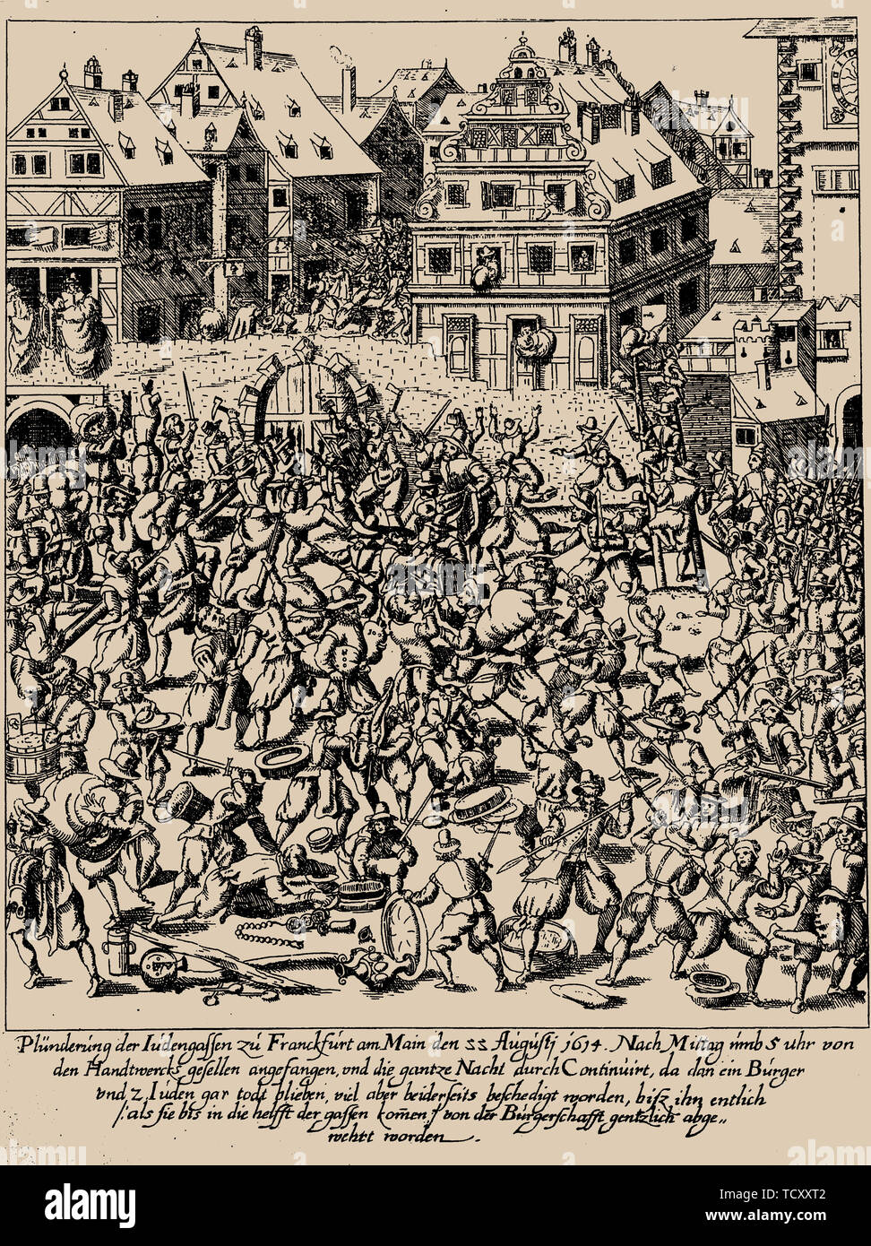 The Fettmilch Rising. The plundering of the Judengasse in Frankfurt on August 22, 1614, c. 1616-1617. Private Collection. - Stock Image