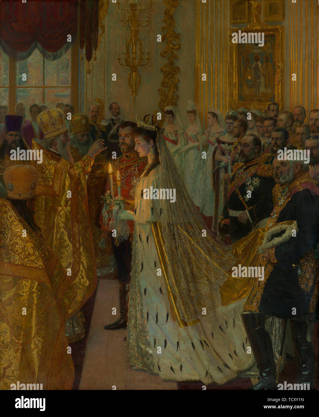 The wedding of Tsar Nicholas II and the Princess Alix of Hesse-Darmstadt on November 26, 1894, 1895- Creator: Tuxen, Laurits Regner (1853-1927). Stock Photo