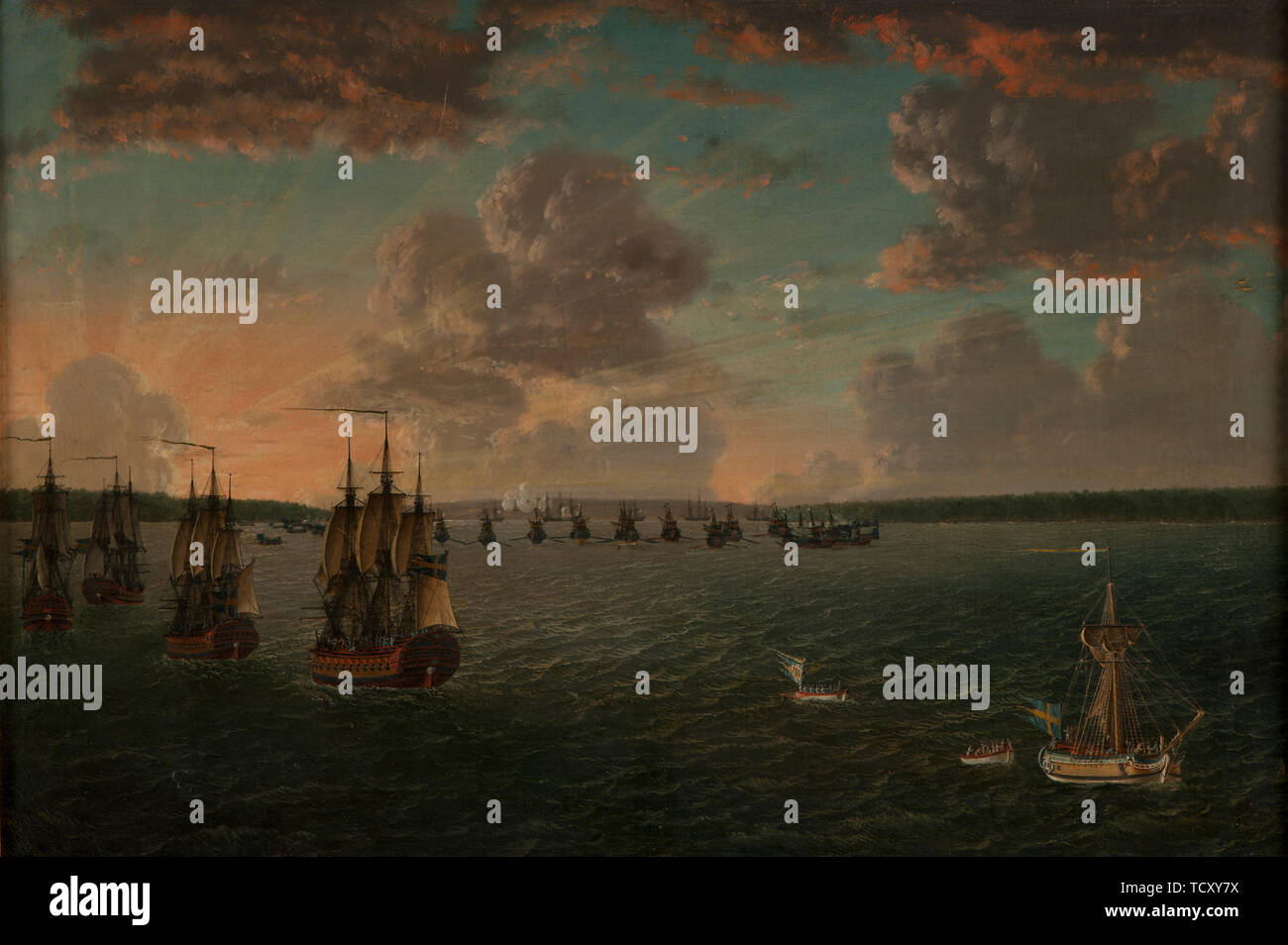 The Battle of Vyborg Bay on July 3, 1790, 1791. Found in the Collection of Sjöhistoriska museet. - Stock Image