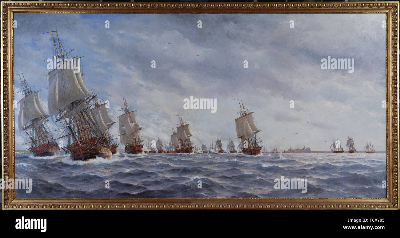 The naval Battle of Reval on 13 May 1790. Found in the Collection of Sjöhistoriska museet. - Stock Image