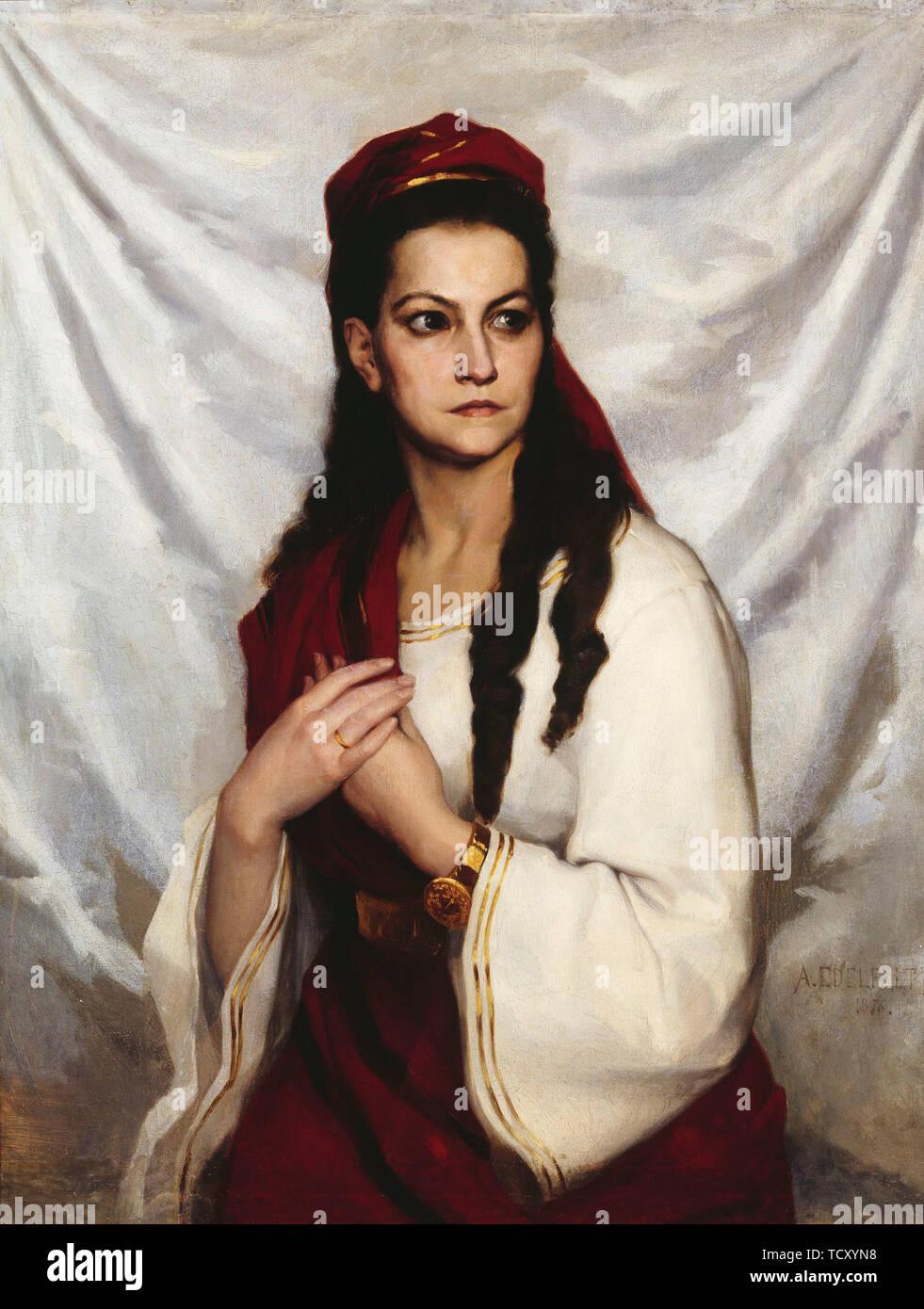 Portrait of the actress Hedvig Charlotta Raa-Winterhjelm (1838-1907), 1876. Creator: Edelfelt, Albert Gustaf Aristides (1854-1905). Stock Photo