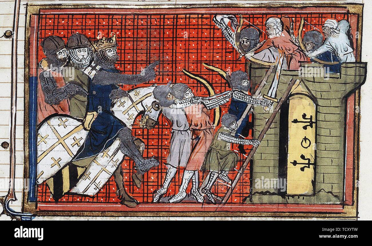 The capture of a town by Godfrey of Bouillon. - Stock Image